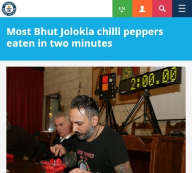 Most Bhut Jolokia chilli peppers eaten in two minutes Giancarlo Gasparotto Italy
